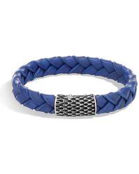 John Hardy - Legends Blue Woven Leather Bracelet - Lyst