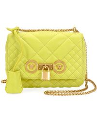 237fed3b6271 Versace - Women s Small Quilted Icon Shoulder Bag - Acid Green - Lyst