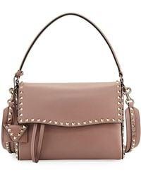 Valentino - Rockstud Smooth Top Handle Bag - Lyst
