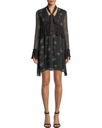 Pinko - Long-sleeve Floral Tie-neck Boho Dress - Lyst