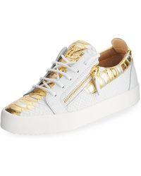 3795203bf69f4 Giuseppe Zanotti Snake-embossed Leather Side-zip Sneakers in White ...