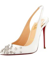 Christian Louboutin - Drama Sling 100mm Spike Leather Red Sole Pumps - Lyst