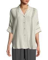 Eileen Fisher - Striped Silk Half-sleeve Shirt - Lyst