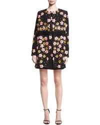 Zac Posen - Floral-embroidered Car Coat - Lyst