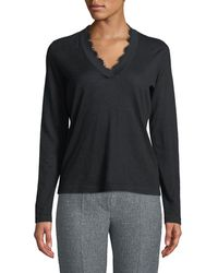 Emporio Armani - V-neck Long-sleeve Cashmere Sweater W/ Lace Trim - Lyst