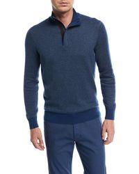 Ermenegildo Zegna - Birdseye-knit Quarter-zip Sweater - Lyst