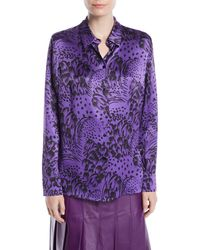 ESCADA - Button-front Long-sleeve Feather-print Silk Blouse - Lyst