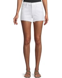 Mother - Charmer Frayed Cotton-blend Shorts - Lyst