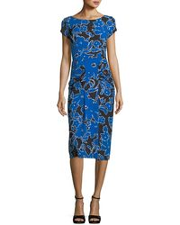 Michael Kors - Round-neck Cap-sleeve Tropical Floral-print Fitted Dress - Lyst