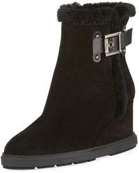Aquatalia - Caitlyn Fur-trim Wedge Boot - Lyst
