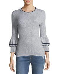 FRAME - Ruffle-cuff Rib-knit Wool Sweater - Lyst