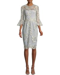 David Meister | Embroidered Trumpet-sleeve Cocktail Dress | Lyst