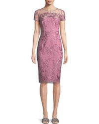 David Meister - Strapless Illusion Dress W/ Embroidery - Lyst