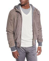 Neiman Marcus - Men's Suede Hooded Bomber Jacket - Lyst