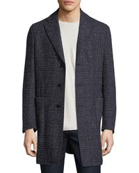 Neiman Marcus   Boucle Plaid Single-breasted Coat   Lyst