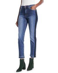 ESCADA - Skinny Jeans W/ Velvet Stripe & Fringe Hem - Lyst