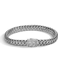 John Hardy - Men's Classic Chain Silver Diamond Pave Flat Chain Bracelet - Medium - Lyst