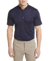 Kiton - Mandarin-collar Cotton T-shirt - Lyst