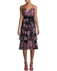 Aidan Mattox - Fit-&-flare Embroidered Lace Tiered Cocktail Dress - Lyst
