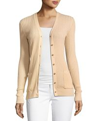 Vince - Skinny Rib-knit Button-front Cashmere Cardigan - Lyst