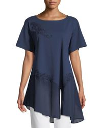 Joan Vass - Chiffon-trim Floral-applique Tunic Petite - Lyst