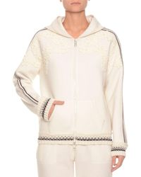 Ermanno Scervino - Zip-front Hooded Wool Jersey Hoodie Track Jacket W/ Embroidery - Lyst
