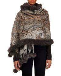 Gorski - Double-face Cashmere Stole W/ Fur Trim - Lyst