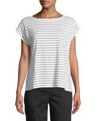 Eileen Fisher - Short-sleeve Thin-striped Linen Jersey Top - Lyst