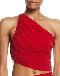 Norma Kamali - Diana One-shoulder Shirred Bikini Top - Lyst