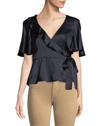 Nanette Lepore - Harlow Silk Peplum Wrap Top - Lyst
