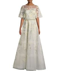Teri Jon - Embroidered Lace Gown W/ Beaded Trim - Lyst
