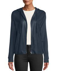 Neiman Marcus - Leather-front Zip-front Hoodie - Lyst