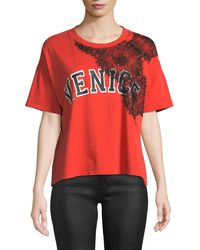 Current/Elliott - The Room Key Graphic Tee W/ Lace - Lyst