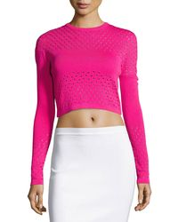 Thierry Mugler - Perforated Knit Cropped Sweater - Lyst