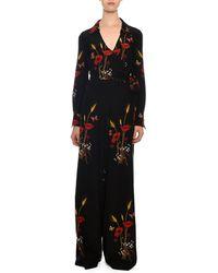 6d12995590 Valentino - Tie-waist Wide-leg Floral-meadow Silk Crepe De Chine Jumpsuit