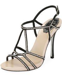 Rene Caovilla - Crystal-studded Satin T-strap Sandal - Lyst
