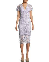 Shoshanna - Paulina V-neck Floral Lace Dress - Lyst