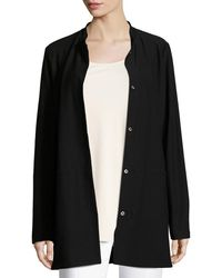 Eileen Fisher - Washable Crepe Long Jacket Plus Size - Lyst