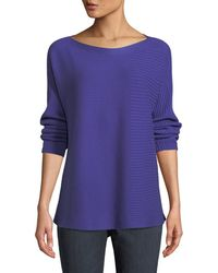 Eileen Fisher - Bateau-neck Ribbed Cotton-silk Blend Sweater - Lyst