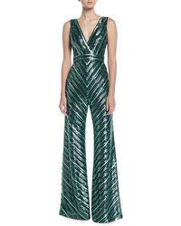 THEIA - V-neck Sleeveless Sequin Stripe Jumpsuit - Lyst