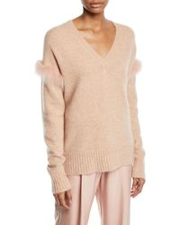 Sally Lapointe - Fox-fur Trim V-neck Cashmere-silk Pullover Sweater - Lyst