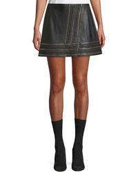 Alice + Olivia - 'jaya' Braided Chain Trim Leather Skirt - Lyst