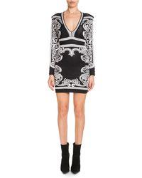 Balmain - Long-sleeve Deep-v Fitted Baroque Short Dress - Lyst