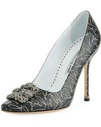 Manolo Blahnik - Hangisi 10th Anniversary Love Leather Pumps - Lyst