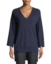 Eileen Fisher - 3/4-sleeve Slub Knit V-neck Top - Lyst