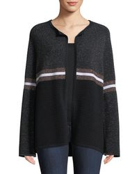 Neiman Marcus - Cashmere & Metallic Ribbed Ottoman Knit Striped Cardigan - Lyst