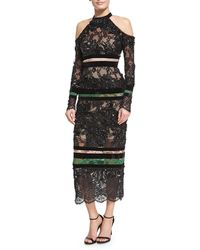 Elie Saab - Beaded Lace Cold-shoulder Dress - Lyst