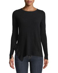 Neiman Marcus - Side-ruffle Long-sleeve Cashmere Sweater - Lyst