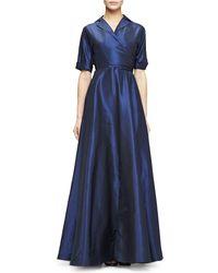 Lela Rose - Faux Wrap Gown In Taffeta - Lyst
