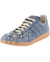Maison Margiela - Men's Replica Paint-splatter Suede Low-top Sneakers Blue - Lyst